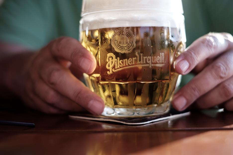 Pilsner Urquell pint of beer