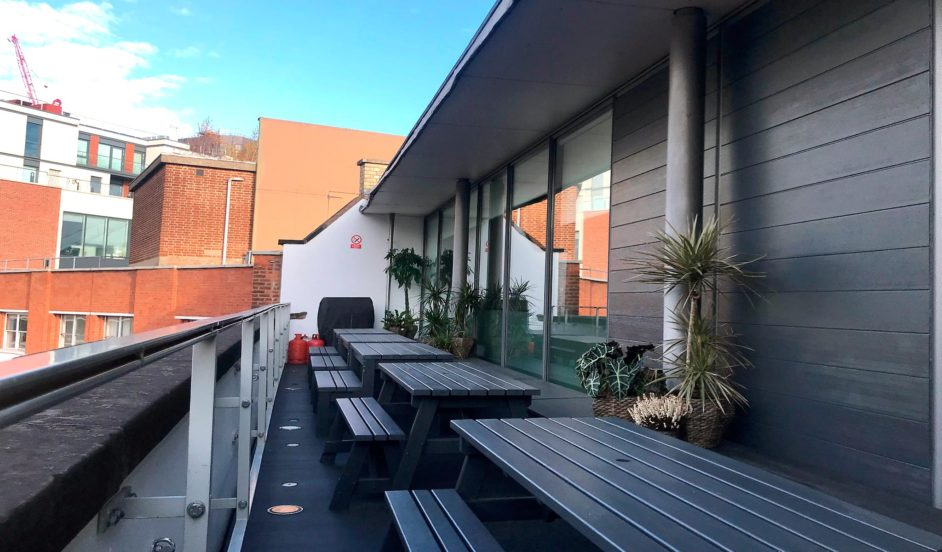 Rooftop terrace at Good Relations, Greencoat House