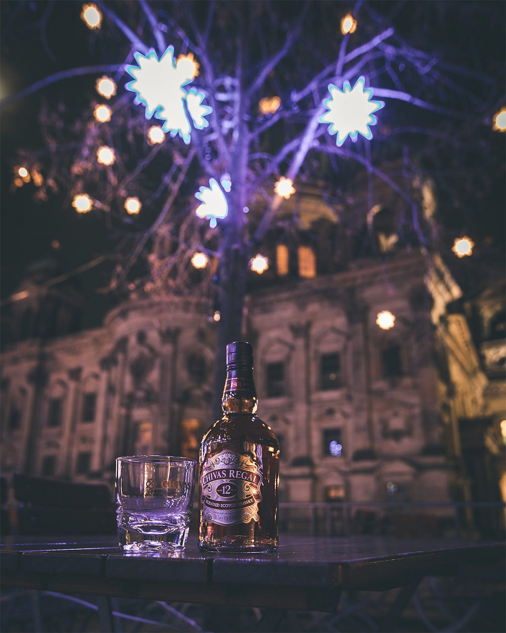 Fireworks at Christmas with Chivas Regal sat in the foreground, shot by influencer Zerletti